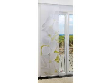 Flächengardine  von LYSEL® - Jasmin lichtdurchlässig mit Motiv in den Maßen 245 cm x 60 cm weiß/weißgrün