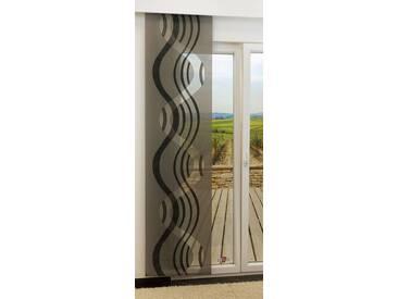Schiebegardine  von LYSEL® - Stream transparent mit Linien in den Maßen 245 cm x 60 cm grau/schwarzgrau