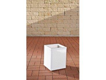 Poly-Rattan Blumenkübel CP001, Blumentopf ~ 35x27x27 cm, weiß