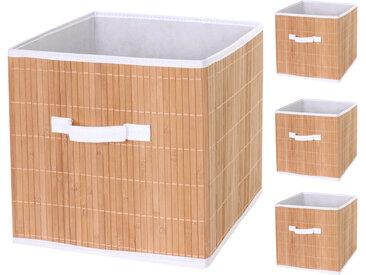 4x Faltbox HWC-C21, Korb Aufbewahrungskorb Ordnungsbox Sortierbox Aufbewahrungsbox, Bambus 32x32x32cm naturfarben