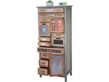 Apotheker-Schrank HWC-A43, Kommode, Tanne Holz massiv Vintage Shabby-Look 138x57x32cm
