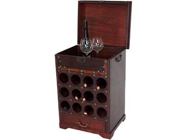Weinregal Calvados T254, Flaschenregal Regal Holzregal, für 12 Flaschen Kolonialstil 69x47x38 cm