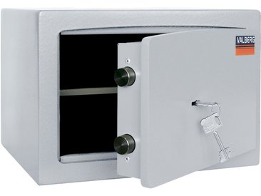 Wertschutzschrank Valberg H26, Möbeltresor mit Schlüsselschloss, grau