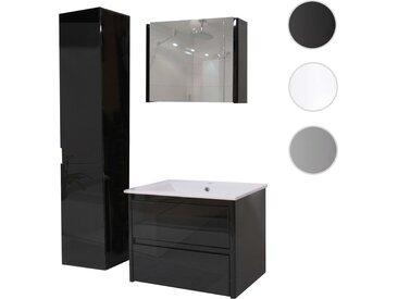 Badezimmerset HWC-B19, Waschtisch Spiegelschrank Hängeschrank, hochglanz