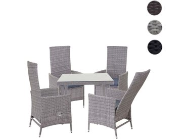 Poly-Rattan-Garnitur HWC-E22, Sitzgarnitur Balkon-Set, 4xStuhl+Gartentisch 90x90cm