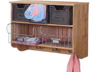 Wandgarderobe HWC-A43, Garderobe Regal, Tanne Holz Vintage Patchwork 42x60x24cm