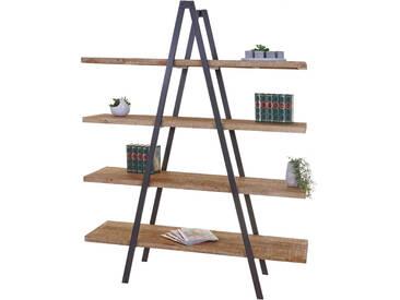 Standregal HWC-A15, Bücherregal Regal, 4 Ebenen Tanne Holz rustikal massiv 189x150x44cm