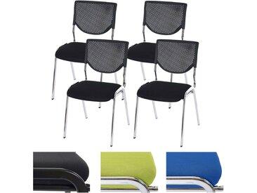 4x Besucherstuhl T401, Konferenzstuhl stapelbar, Stoff/Textil