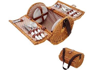 Picknickkorb-Set für 4 Personen, Picknicktasche Weiden-Korb, Porzellan Edelstahl, beige-weiß