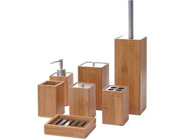 7-teiliges Badset MCW-A90, WC-Garnitur Badezimmerset Badaccessoires Seifenspender Zahnbürstenhalter Seifenschale, Bambus
