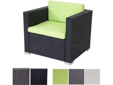 Modulares Poly-Rattan Sofa ROM Basic, Sessel Loungesessel, Alu