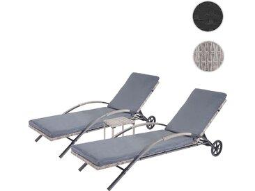 2x Sonnenliege HWC-E27, Relaxliege Gartenliege, Poly-Rattan