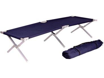 Camping-Bett LD46, Feldbett Klappbett Gästebett, inkl. Tragetasche, 190x62x42cm ~ dunkelblau, Gestell Alu
