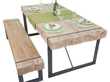 Esszimmergarnitur HWC-A15, Esstisch + 1x Sitzbank, Tanne Holz rustikal massiv