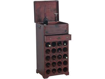 Weinregal Calvados Flaschenregal Regal Holzregal Kolonialstil, für 20 Flaschen, mit Schublade