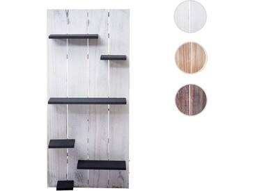 Wandregal HWC-C65, Wandpaneel Holzregal Regal, 6 Ebenen 110x50x14cm Massivholz Vintage