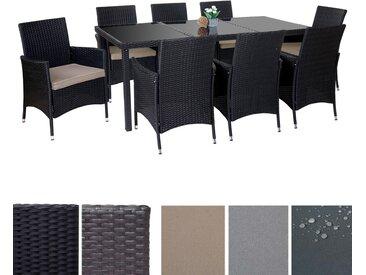 Poly-Rattan-Garnitur Terni, Garten Sitzgruppe Tisch + 8 Sessel, Alu