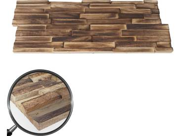 10x Teak-Holzfliesen HWC-B95 (1qm), 3D Wandfliesen Wandverkleidung Mosaikfliesen Wandgestaltung Wandpaneele braun