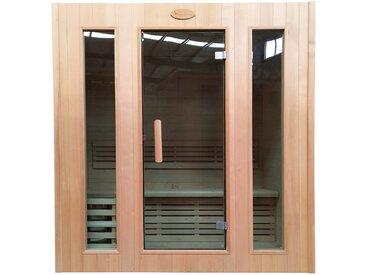 Sauna HWC-D59, Saunakabine Wärmekabine, Saunaofen 3,0kW Saunasteine Sicherheitsglas 3 Personen 190x175x120cm