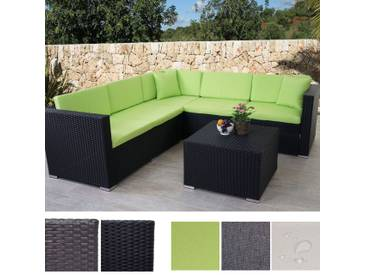 Poly-Rattan Sofa-Garnitur ROM Basic, Sitzgruppe Lounge-Set, Alu