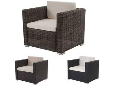 Modulares Poly-Rattan Alu-Sofa Rom Basic, Sessel, rundes Rattan, 75x87x74cm, grau