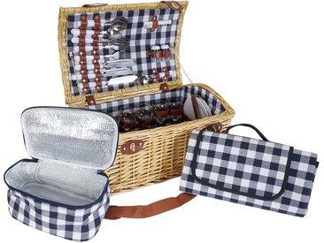 Picknickkorb-Set HWC-B23 für 6 Personen, Weiden-Korb Picknickdecke, Porzellan Glas Edelstahl, blau-weiß