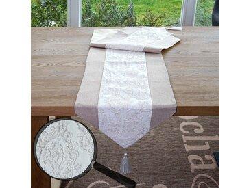 Tischläufer Glitzer, Tischdecke Tischdeko Mitteldecke, beige Glanz-Effekt 180x33cm