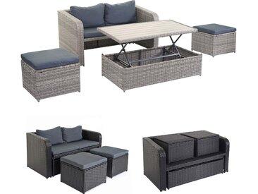 Poly-Rattan Garnitur HWC-E26, Gartengarnitur Sitzgruppe, Platzwunder