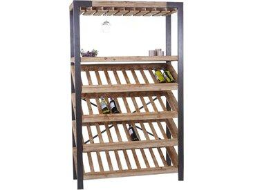Weinregal HWC-D60, Flaschenregal Flaschenhalter Barschrank Weinständer für 40 Flaschen, Massivholz 189x114x39cm