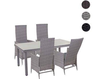 Poly-Rattan-Garnitur HWC-E22, Sitzgarnitur Balkon-Set, 4xStuhl+Gartentisch 160x90cm