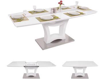 Esstisch HWC B48, Esszimmertisch Tisch, Ausziehbar Hochglanz Edelstahl  160 205x90cm