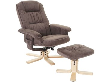 Relaxsessel M56, Fernsehsessel TV-Sessel mit Hocker, Stoff/Textil