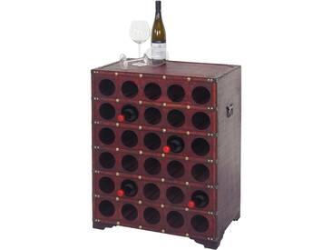 Weinregal Calvados, Flaschenregal Regal Holzregal, für 30 Flaschen Kolonialstil 80x61x40cm