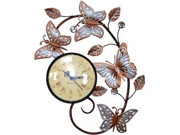 Wanduhr H04, Wanddekoration Wanddeko, Schmetterlinge mit Blättern, 35x29x3cm