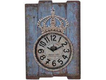 Wanduhr H07, Uhr Wanddekoration, Shabby-Look Vintage, 69x48x5cm ~ blau