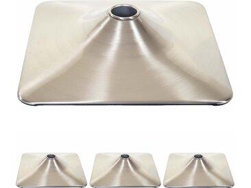 4x Fußteller Fußplatte Fuß für Barhocker Barstuhl Drehstuhl Esszimmerstuhl, rechteckig Metall gebürstet Ø 37,5cm