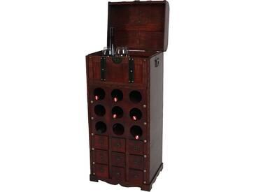 Weinregal Calvados T253, Flaschenregal Regal Holzregal, für 9 Flaschen Kolonialstil 104x45x38 cm