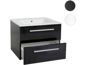 Waschbecken + Unterschrank HWC C11, Waschbecken Waschtisch Badezimmer,  Hochglanz 48x61cm