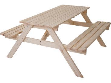 Biergarten-Garnitur Narvik, Picknick-Set, Holz Gastroqualität massiv 150x150cm