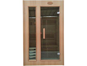 Mini-Sauna HWC-D58, Saunakabine Wärmekabine, Saunaofen 2,3kW Saunasteine Sicherheitsglas 1 Person 190x120x100cm