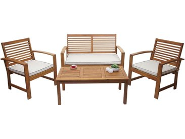 Gartengarnitur HWC-E99, Sitzgruppe Balkon-Set Lounge-Set, Akazienholz massiv Kissen creme