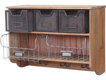 Küchenregal HWC-A43, Haushaltsregal Regal, Tanne Holz Vintage Patchwork 42x60x24cm
