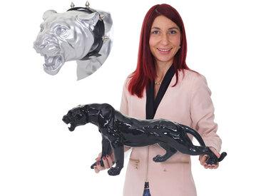 Deko Figur Leopard 59cm, Polyresin Skulptur Panther, In-/Outdoor