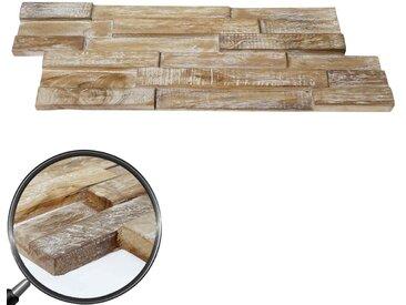 10x Teak-Holzfliesen HWC-B95 (1qm), 3D Wandfliesen Wandverkleidung Mosaikfliesen Wandgestaltung Wandpaneele shabby braun