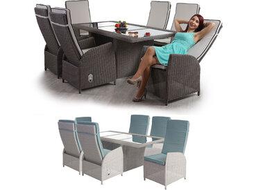 Luxus Poly-Rattan Garten-Garnitur Badalona, Sitzgruppe, verstellbare Rückenlehne, Glas