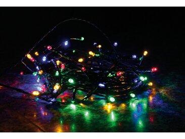 LED Lichterkette LD07, Leuchtkette, für Außen und Innen ~ Kabel grün, 96 LEDs, bunt