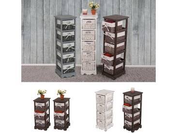 Regal Kommode mit 4 Korbschubladen 74x25x28cm, Shabby-Look, Vintage