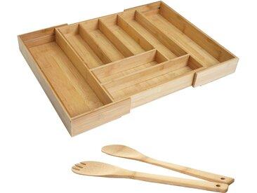 Besteckkasten + Salatbesteck HWC-B20, Schubladeneinsatz Geschirrkasten Servierbesteck Küchenzubehör, Bambus