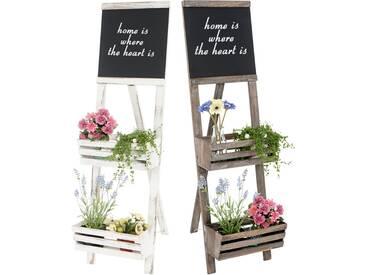 Pflanzregal mit Tafel, Standregal Blumenständer, 117x34x58cm Shabby-Look Vintage