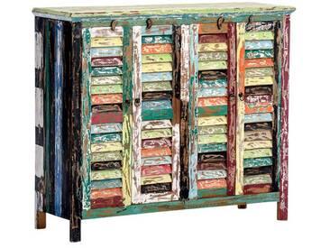 Kommode CP331, Schrank, Teakholz, Shabby-Look Vintage, 125x93x40cm